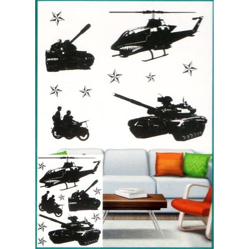 Classy Army Tanks Helicopters 3D Wall Sticker For Living Room Bed Room - Easily Removable