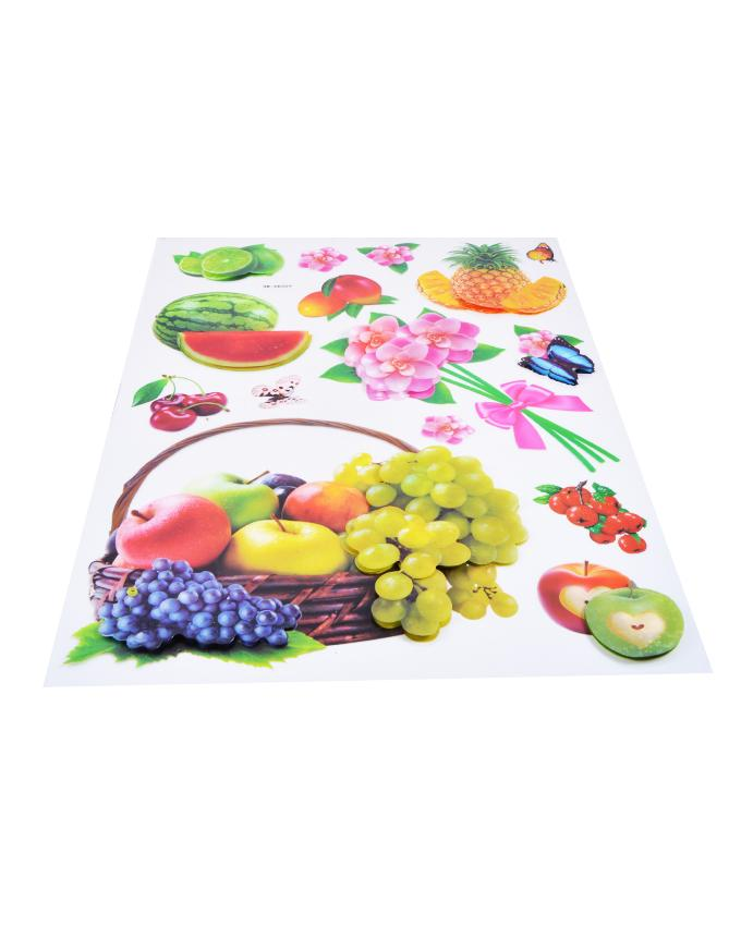 3D Glossy Fruit Basket Wall Sticker (20x14 Inches)