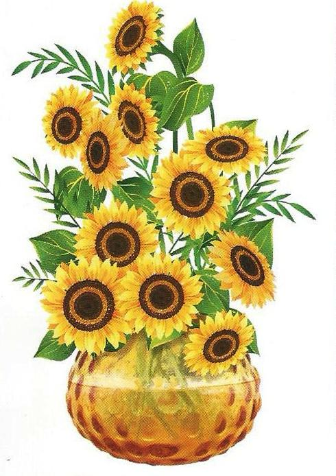 3D and Glossy Sunflowers With Pot Wall Sticker Wall Decoration