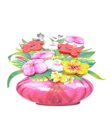 3D and Glossy Flowers With Pot Wall Decoration (21x15 Inch)