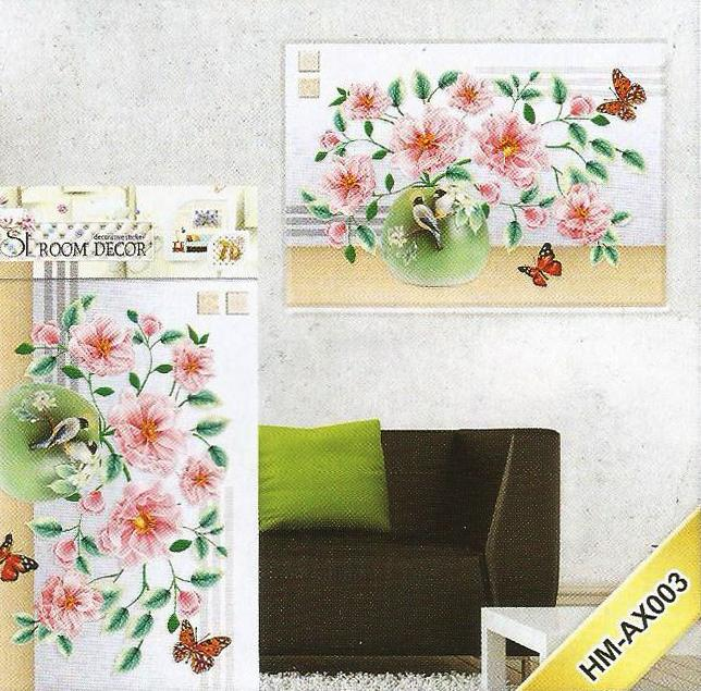 3D and Glossy Sunflowers With Pot Wall Sticker-Pink