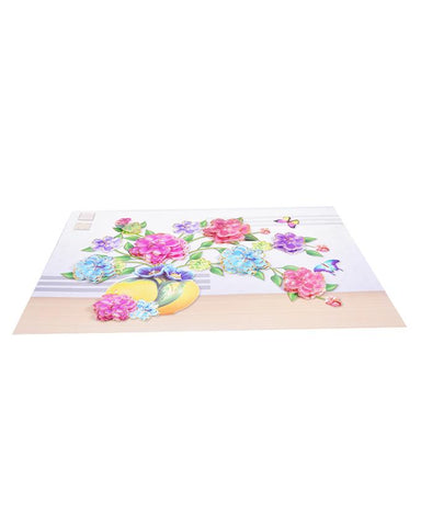 3D and Glossy Pink Flowers With Pot Wall Sticker Pink with Blue