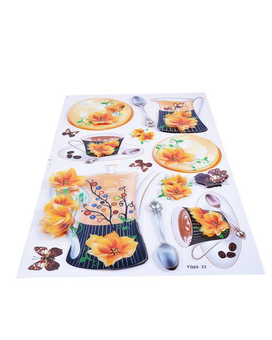 3D and Glossy Flowers and Crockery Wall Sticker-Orange