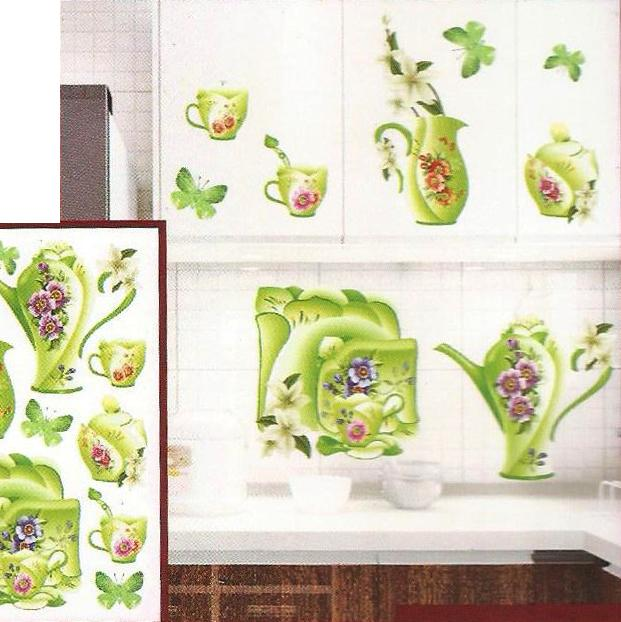 3D and Glossy Flowers and Crockery Wall Sticker-Green