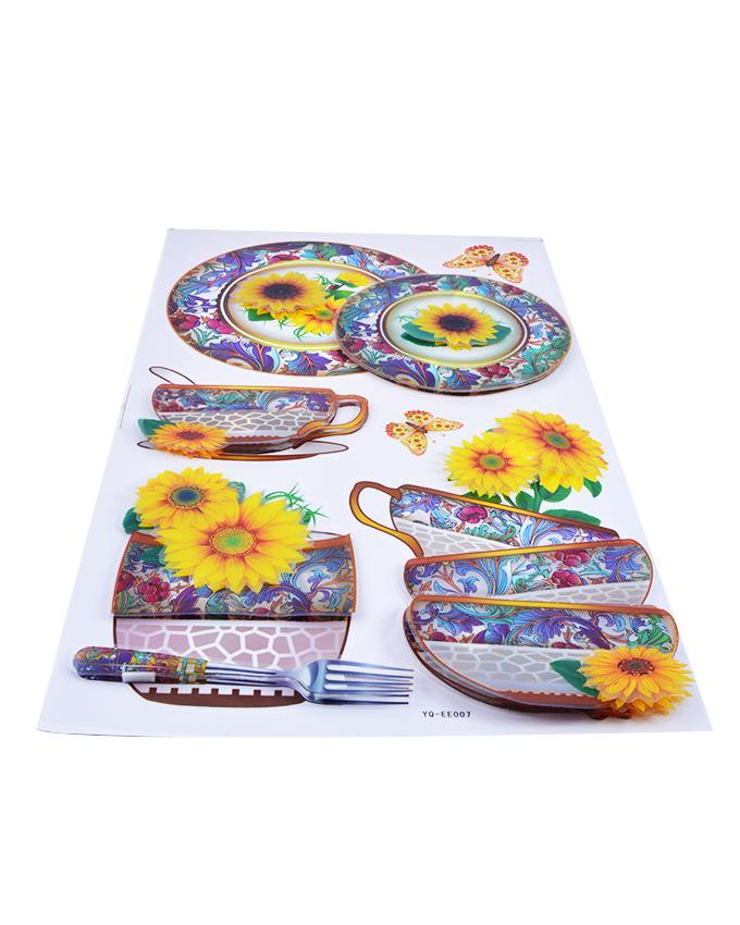 3D and Glossy Flowers and Crockery Wall Sticker-Yellow