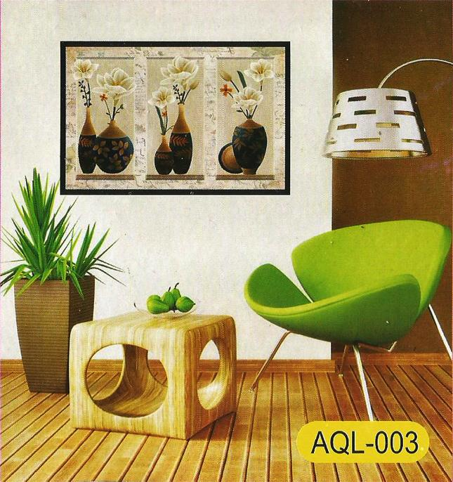 3D and Glossy Flowers and Pot Design Wall Sticker (24x16 Inch)