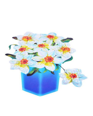 3D and Glossy White Flowers and Blue Pot Wall Sticker (19x14 Inch)