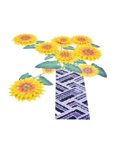 3D and Glossy Yellow Flowers and Black Pot Wall Sticker