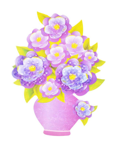 3D and Glossy Purple Flowers and Pot Wall Sticker