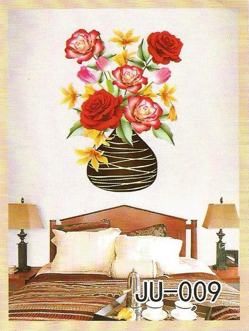 3D and Glossy Flowers and Pot Wall Sticker