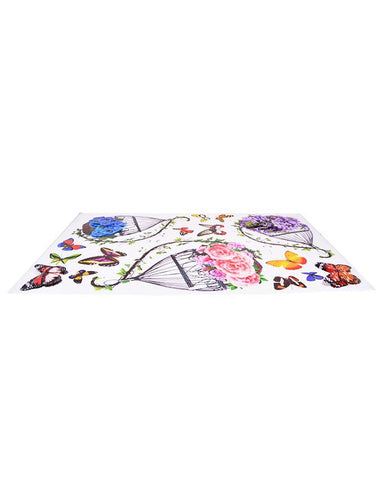 3D and Glossy Flowers Basket and Butterflies Wall Sticker
