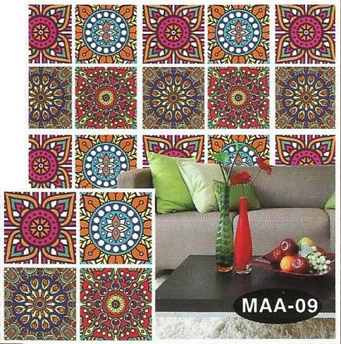 4 Tiles Design Wall Stickers for Wall Decoration-12.5x12.5 Inches Purple