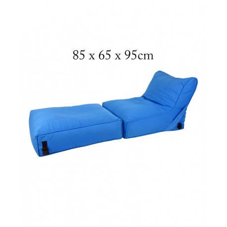 Wallow Flip Out Lounger Bean Bag Bed Chair - Fabric Sofa Bed - Blue