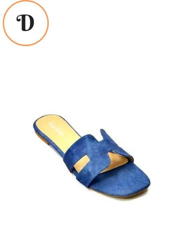 Blue Denim Jeans H Flat Slides For Women