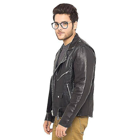 Men's Slim Fit PU Biker Style Leather Jacket Black MB-120