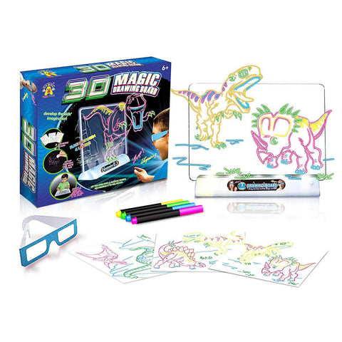 Creative 3D Magic Drawing Board LED Flashing Game for Kids Educational Toy - 5010