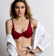 Lightly Padded Underwired T-Shirt Bra -Maroon