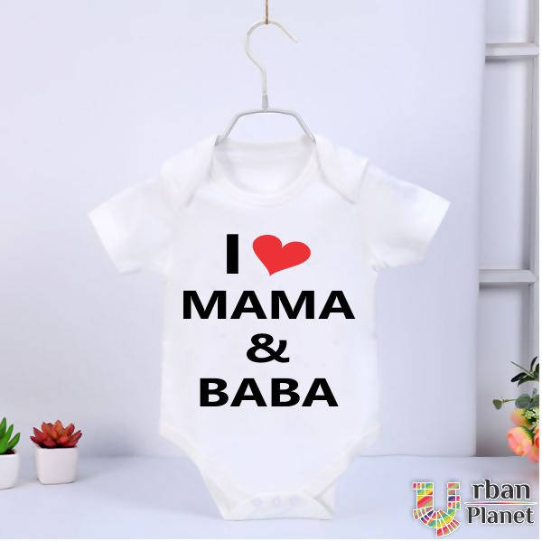 Customized Baby Rompers (Half Sleeve) - I Love Mama&Baba