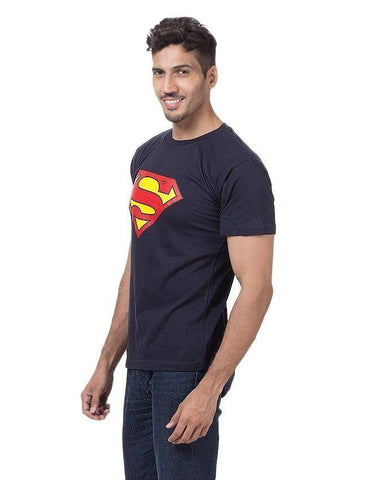 Black Cotton Superman Printed T-Shirt For Men