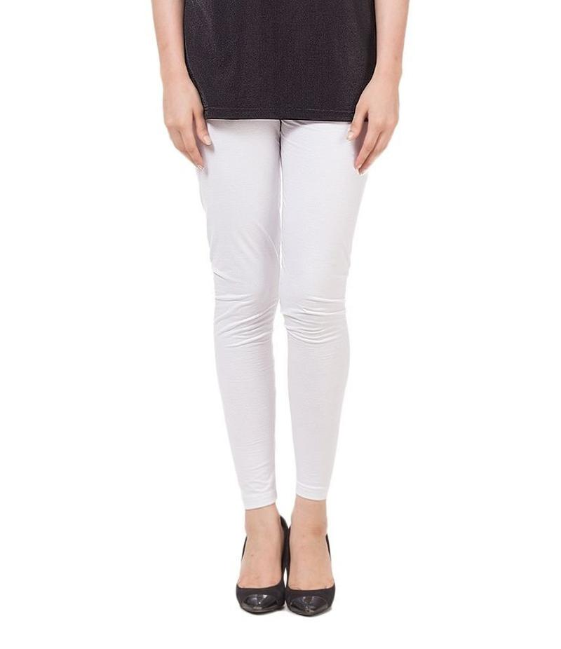 Women's White Cotton Jersey Tights For Pakistan Independence Day. 14AUG-18