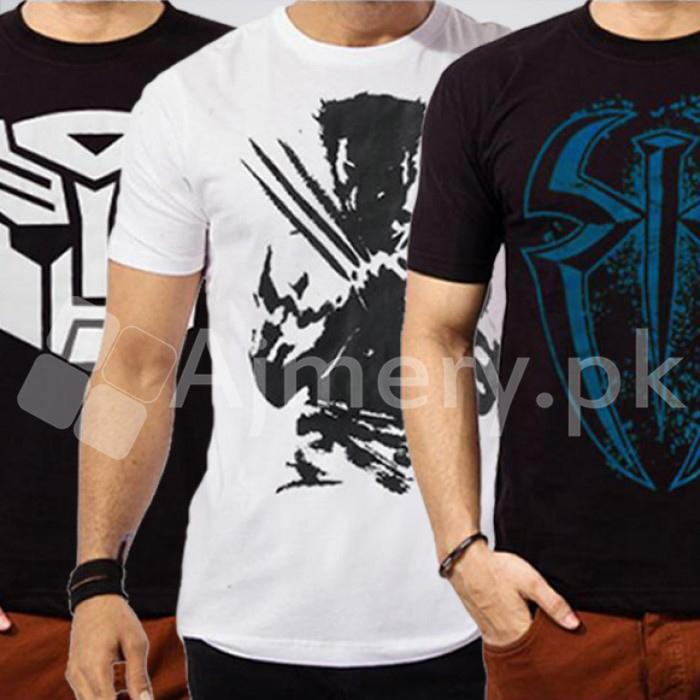 Men's Set Of 3 Superhero T-Shirts. AJ-123