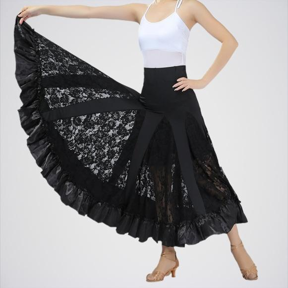 Women's Black Latin Long Swing Race Skirt. E4h-Swng105