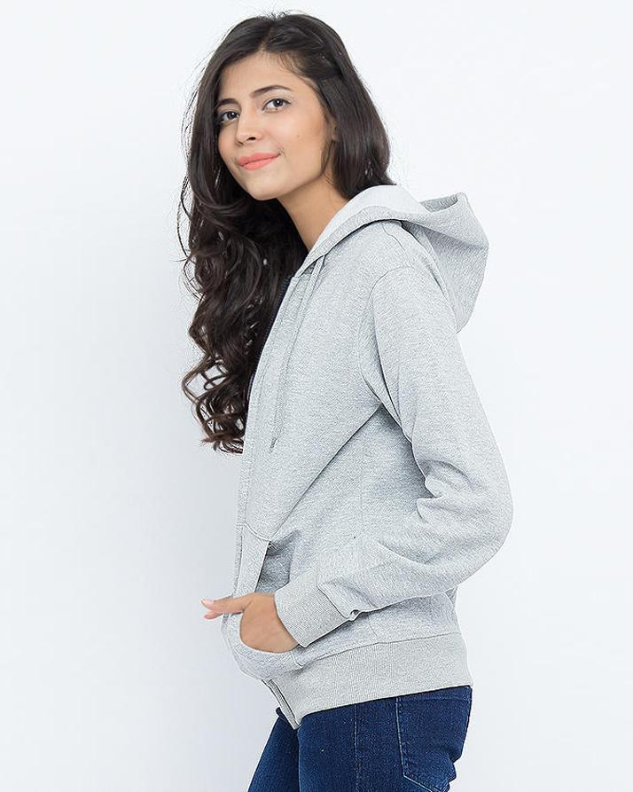 Heather Grey Italia Printed Zipper Hoodie For Women. SS-68
