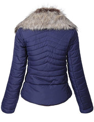 Ladies Parachute Pu Leather Jacket Women Pu Leather Jacket LF-NAVY-01