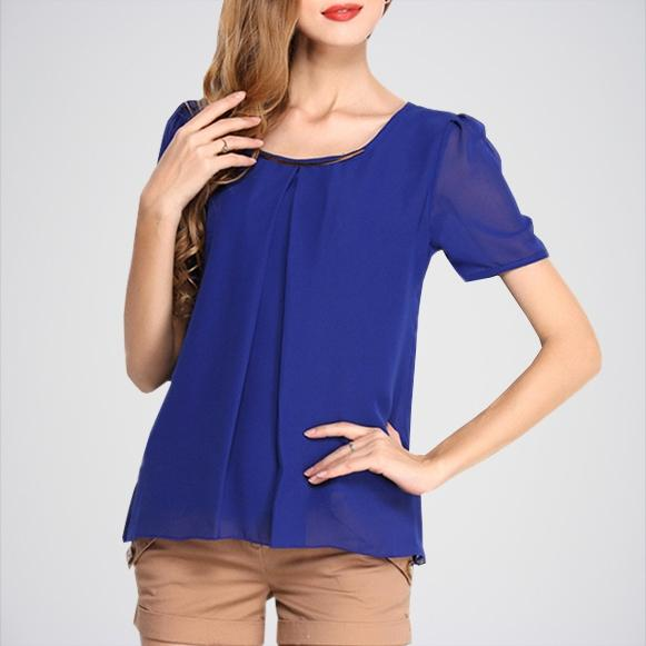 Women's Royal Blue Chiffon Lace Top E4h-110044