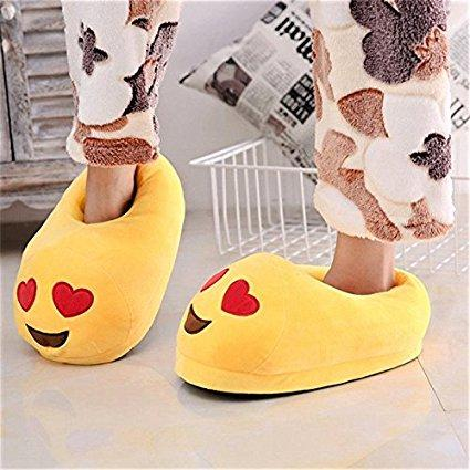 Emoji Plush Slippers - Love Heart Eyes