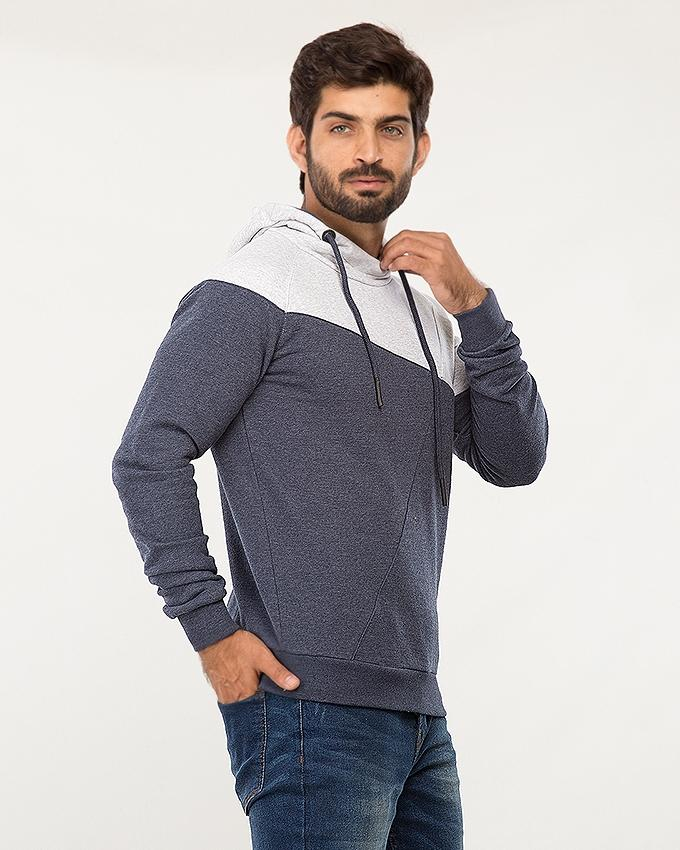 Navy Cotton Cut&Sew Hoodie For Men