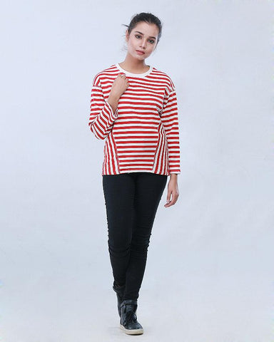 RED/WHITE STRIPER SWEAT SHIRT GIRLS FW19SS-07