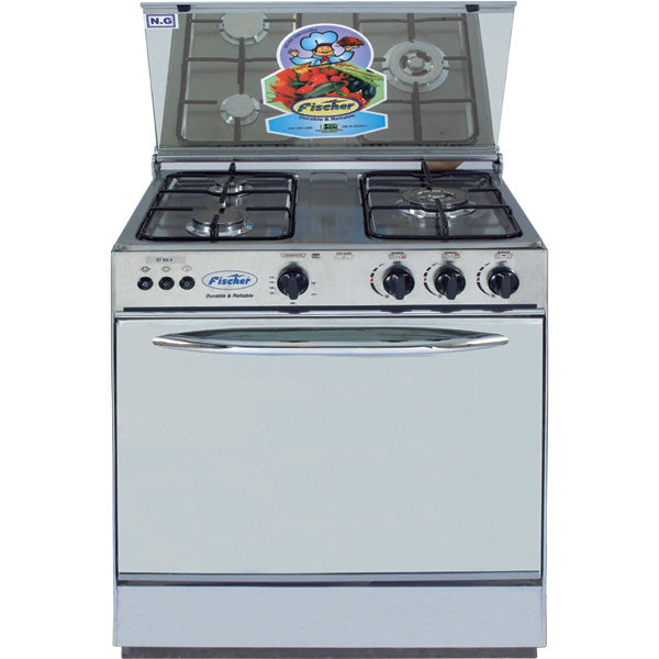 Fischer 3 Bur Glass Top Cooking Range 27 SS-3