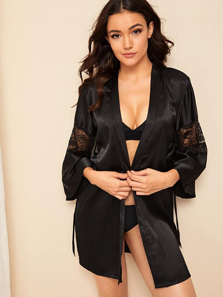 Black Sexy Lace Robe Gown For Women. SD-726