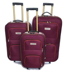 Wedding Luggage Set One Side 4 Wheels Trolley / 3Pcs/Front Pockets-wedmaroon
