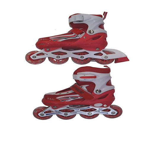 Inline Skate Shoes with Tyre LED lights - Red - 8438-R