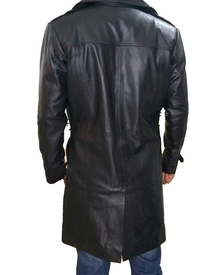 Black Leather Long Coat For Men