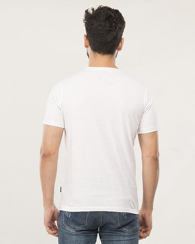 WHITE COTTON White Printed Tee For  Men