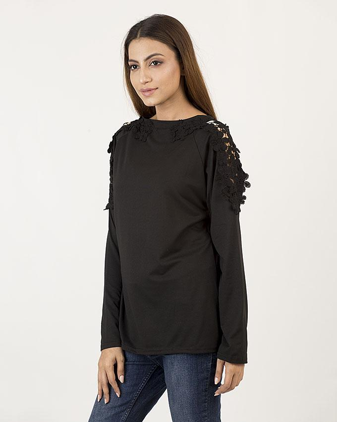 Top With Floral Lace FTP-111A