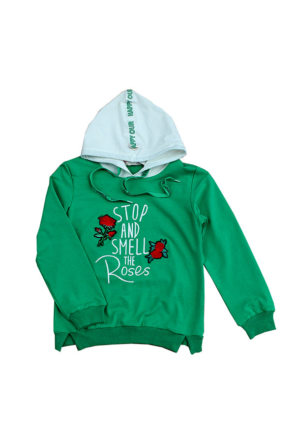 Green Hoodie Stop and smell the roses