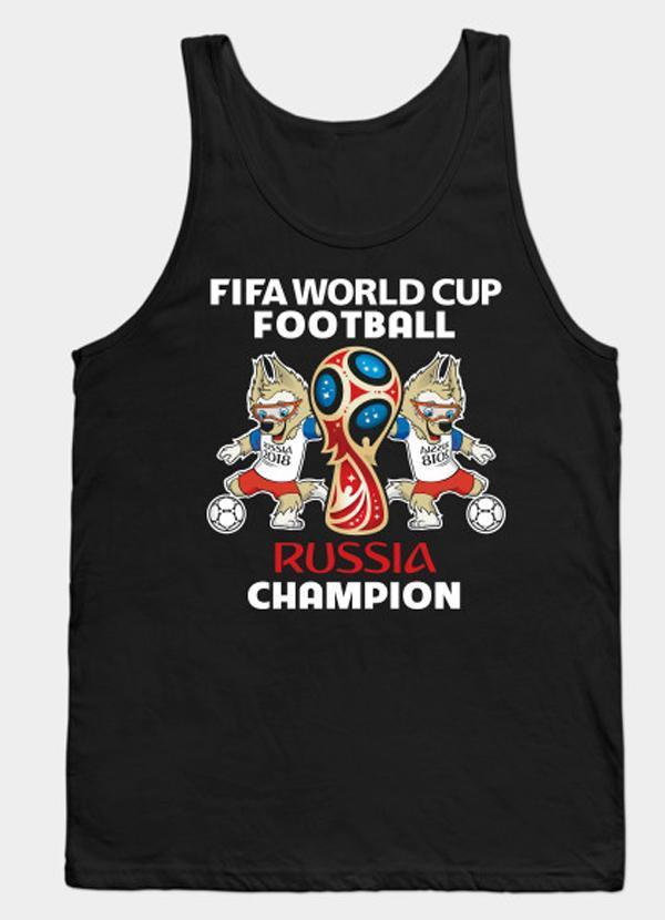 Virgin Teez World Cup Football - Black Tank Top
