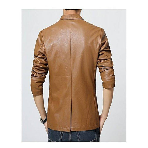 Men's Slim Fit Pu Leather Coat MB-97