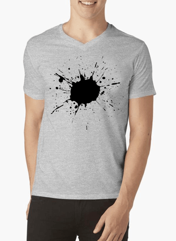 Virgin Teez Splatter Half Sleeves V-Neck T-shirt