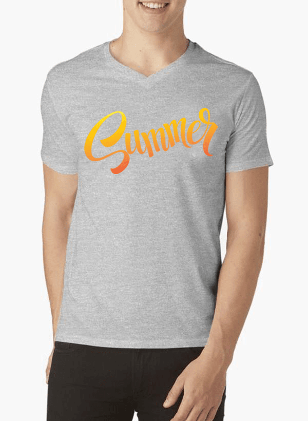 Virgin Teez Summer Half Sleeves V-Neck T-shirt