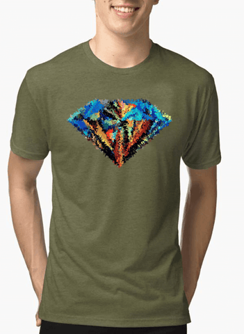 Abstract Super Logo Half Sleeves Melange T-shirt