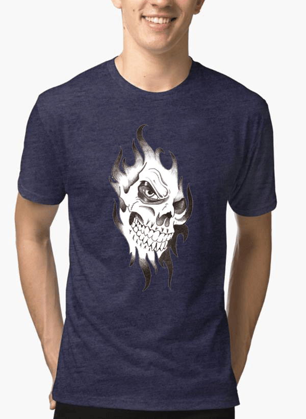 Virgin Teez Skull Sketch Half Sleeves Melange T-shirt