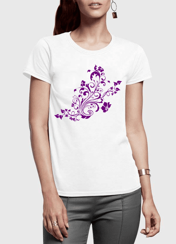 Virgin Teez Swirl Purple Half Sleeves Women T-shirt