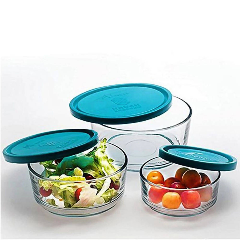 Pack of 3 High Quality Crystal Clear Glass Bowl With Air Tight Multi-color Plastic Closing Lid Kitchen Essential Food Storage Set - 7208