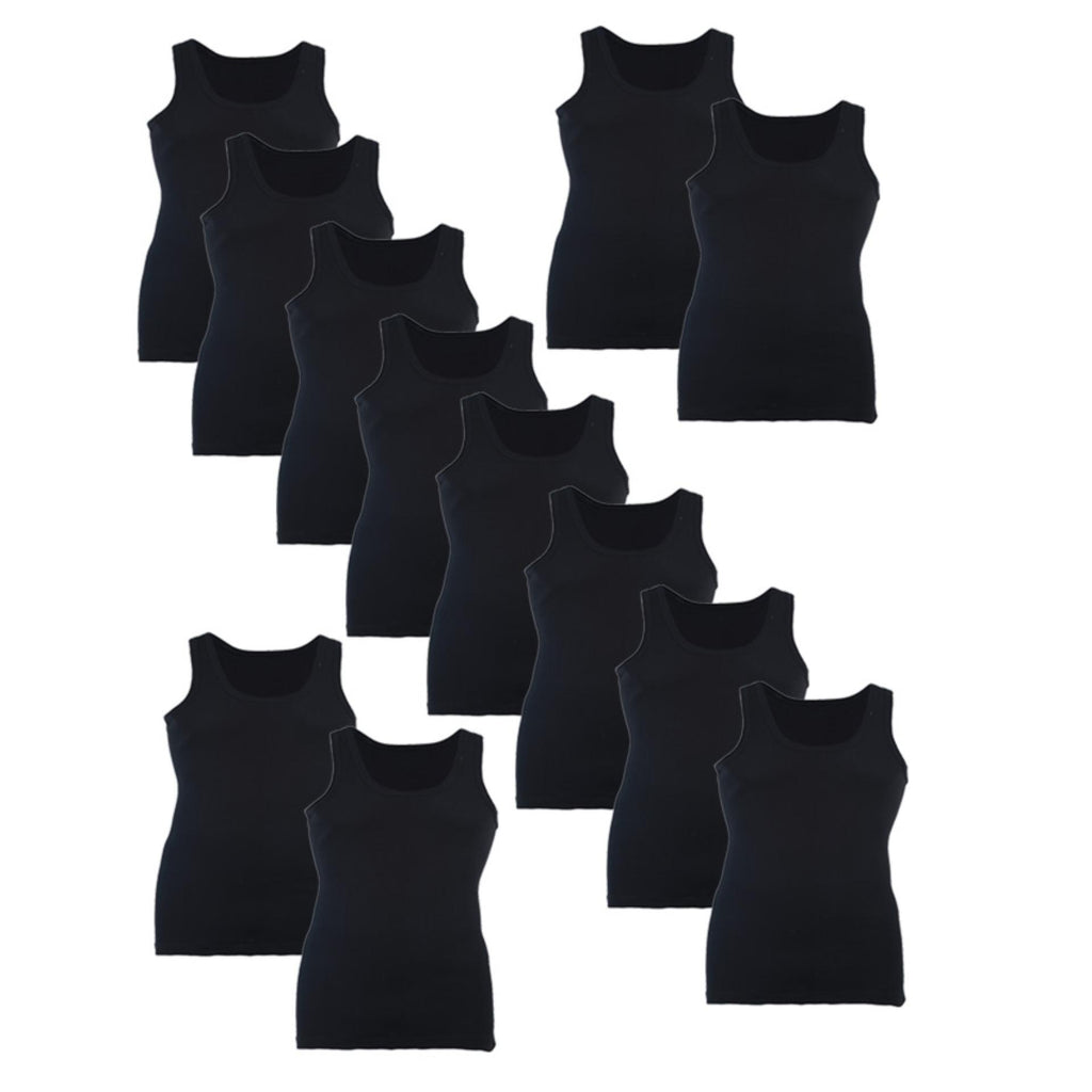 Softy Pack of 12 Pure Cotton Ribbed Vest for Men - Black UG-501-S