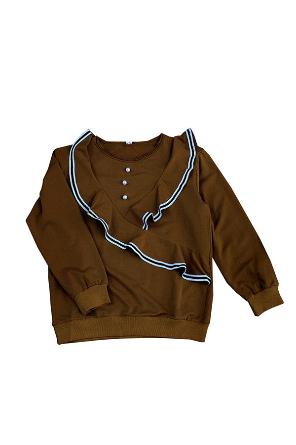 Brown Full Sleeve Fancy Top